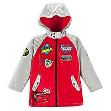 Disney Store Cars Lightning McQueen 95 Rain Jacket / Raincoat NEW Hooded Red