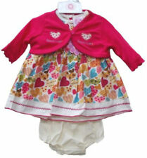Baby Girls Christmas Sweet Hearts 3 pieces Dress Shrug Party Outfit 0-3 6-9 Mths
