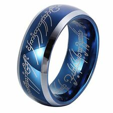 8mm Sapphire Blue Tungsten Carbide Ring Lord of the Rings Wedding Band for Men&W