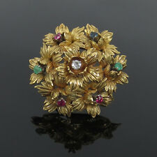 French 0.13ct Old Cut Diamond & 0.76ct Emerald Ruby & Sapphire 18K Gold Brooch