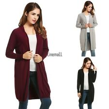 Women's Long Sleeve Open Front Solid Thin Knit Cardigan Sweater LM01