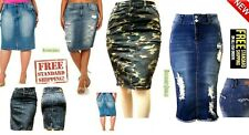WOMENS Plus Size DENIM JEANS Skirt Stretch Knee Length Distressed Ripped BLUE