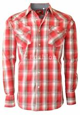 RODEO MEN'S WESTERN COWBOY RODEO PEARL SNAP SHIRT LONG SLEEVE PLAID 403 RED