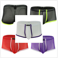 Trunks Underwear Mens See-through Boxer Brief Shorts Bulge Pouch Underpants M-XL
