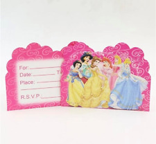 NEW Pack of 10 Disney Princess Themed Birthday Party Invitation Cards