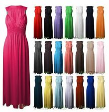 New Ladies Sleeveless Spring Coil Long Jersey Stretch Women Maxi Dress