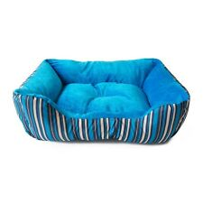 ALEKO 20 x 16 x 6 In Soft Plush Pet Cushion Bed for Cats and Dogs Blue Stripes
