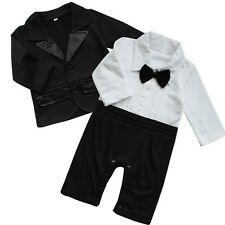 Infant Baby Boy Formal Gentleman Tuxedo Romper Coat Jacket Suit Birthday Wedding