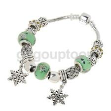 Retro Snowflake Pendant Metal Coloured Glaze Beads Crystal Bangle Bracelet Chain