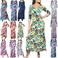New Womens Floral Summer Beach Ladies Round Neck Party Evening Maxi Long Dress