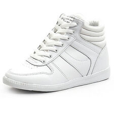 Women's lace ups high tops increase hidden wedge white fashion sneakers
