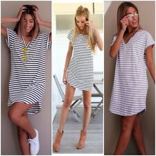 Ladies Women's Striped Short Sleeve Dress Casual T-shirt Dress Mini Dress Skirt