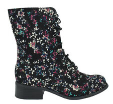 Wild Diva Women Combat Military Riding Boots Floral Black Flower Lace Up MADRID