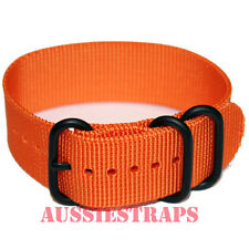 PREMIUM ZULU PVD 3 Ring ORANGE 20mm,22mm,24mm Military Diver's watch strap band