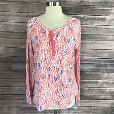 NEW Basic Editions Womens Top Long Sleeve Coral Pink Blue Long Sleeve Split Neck