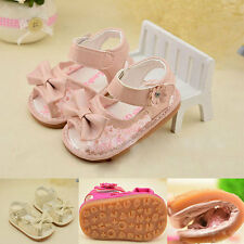 Hot Lace Bow Baby Girls PU Toddler Sandals Princess Shoes Sz 5 White/Pink 0-2Y