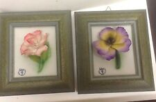 2 PCS FABAR Capodimonte Flower Porcelain 3D in Frame Made in Italy