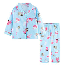 Pyjamas Girls Winter Cotton Flannel 2pc Pjs (Sz 8-14) Set Sky Blue Milk & Cookie