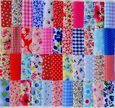 "POLY COTTON FABRIC FLORAL MIX PATCHWORK SQUARES BUNDLE CHOOSE 4"" 5"" 6"" & 10"""