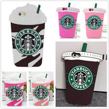 3D Starbucks Drinking Cup Soft Silicone Back Case Cover Skin For iPhone Samsung