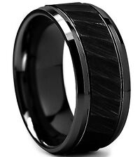 8mm Black Tungsten Carbide Ring Hammered Step Edge Brushed Mens Wedding Band