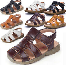 Hot Summer Leather Sandals Closed Toe Beach Sports Shoes Kids Boys Girls Toddler