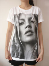 Kate Moss Sexy Model Women Printed T-Shirt Rock Punk Short Sleeve Size S M L