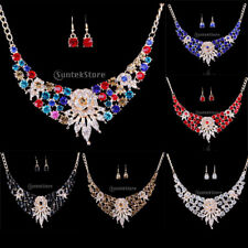 Bridal Wedding Prom Crystal Flower Necklace Drop Earrings Jewelry Set Party Gift