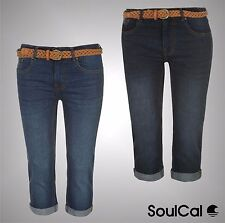 New Ladies Branded SoulCal Summer Turned Up Belted Crop Jeans Shorts Size 8-22