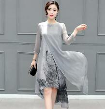 Casual Women long fashion trend temperament elegant printing irregular dress sz