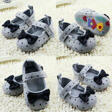 Cute Toddler Baby Girls Polka Dots Bowknot Soft Sole Crib Shoes Prewalker 0-18M