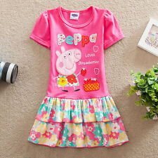 Lovely Kids Girls Peppa Pig Short Sleeve Flower Cotton Carton Party Dress 3-8Y