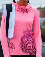 Ladies cowl neck sports, gym, mountain bike, running, training fashion top  pink