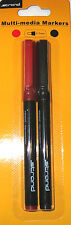 2 Pack of Strand CD DVD Permanent Marker Pens Fine Tip Red & Black New & Sealed