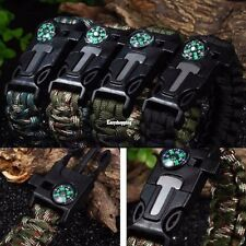 Rope Paracord Survival Bracelet Flint Fire Starter Compass Whistle Wrist Outdoor