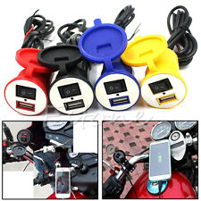 Motorcycle Handlebar Phone USB Charger Power Adapter Waterproof Cover Switch