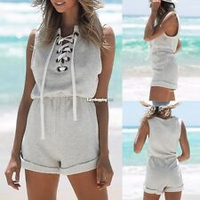 New Women Sleeveless Short Jumpsuit Lace-up Elastic Waist Solid Casual ES9P01