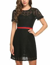 Zeagoo Womens Floral Lace Short Sleeve Contrast Belt Slim Cocktail Party Dress