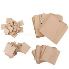 Blank Wooden Square Wood Embellishments Unfinished Wood Craft Tags with Hole
