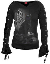 Spiral Witch Cat, Laceup Sleeve Top Black|Cat|Gothic|Pentagram|Mystical