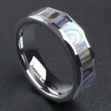 6mm Silver Tungsten Carbide Ring Unisex Wedding Band Abalone Shell Inlay Faceted