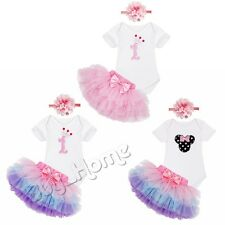 3PCS Newborn Infant Baby Girls Outfit Clothes Romper Jumpsuit Bodysuit+Skirt Set