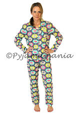 Pyjamas Ladies 100% Cotton Flannel 2 pc Pjs Set (sz S-XL) Grey Elephants Sz 8 10