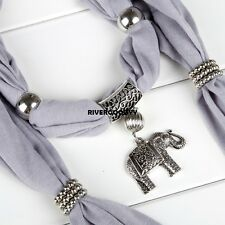 Alloy Elephant Pendant Scarf Charm Ring Jewelry Necklace Scarves VGY03