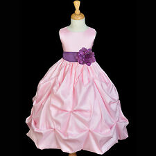 PRINCESS PINK FLOWER GIRL DRESS WEDDING BRIDESMAID 0-24 MONTH 2 3T 4 5T 6 8 9 10