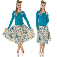 """FLORAL PRINT SKIRT """"Hope"""" by HELL BUNNY 50'S VINTAGE SWING ROCKABILLY JIVE 6-16"""