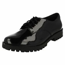 GIRLS BOOTLEG CLARKS COATED LEATHER LACE UP SMART SCHOOL COLLEGE SHOES AGNES MAY