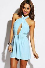 W Cut Out Wrap Front Backless Halter A Line Party Clubwear Mini Dress Blue S