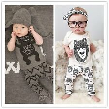 Baby Boy girl Short sleeves Lovely Top Blouse T-Shirt Pants Trousers Outfits Set
