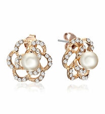 Rose Gold Pearl made with Swarovski Crystal Small Stud Earrings Gift 186-124
